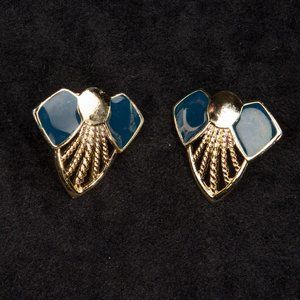 Vintage Gold and Blue Art Deco Post Earrings